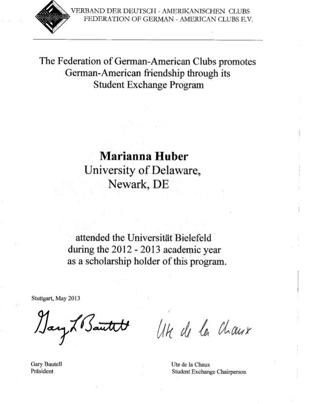 Federation Of German American Clubs Scholarship Certificate