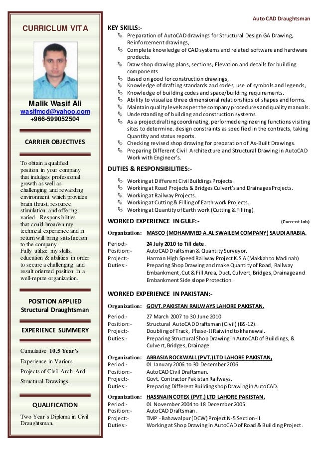 professional resume draftsman