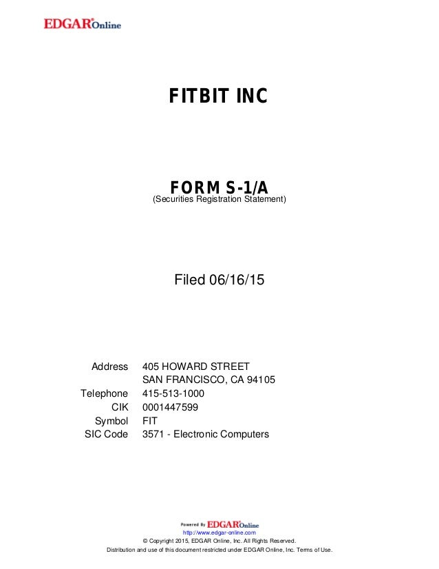 Fitbit form S1 IPO