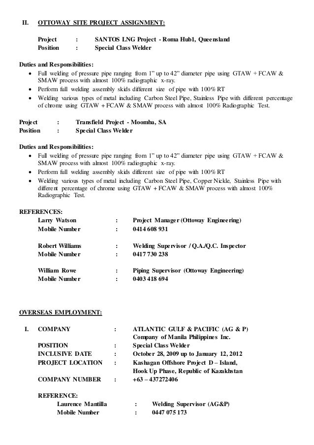 Welder Resume Job Description  ContegriCom