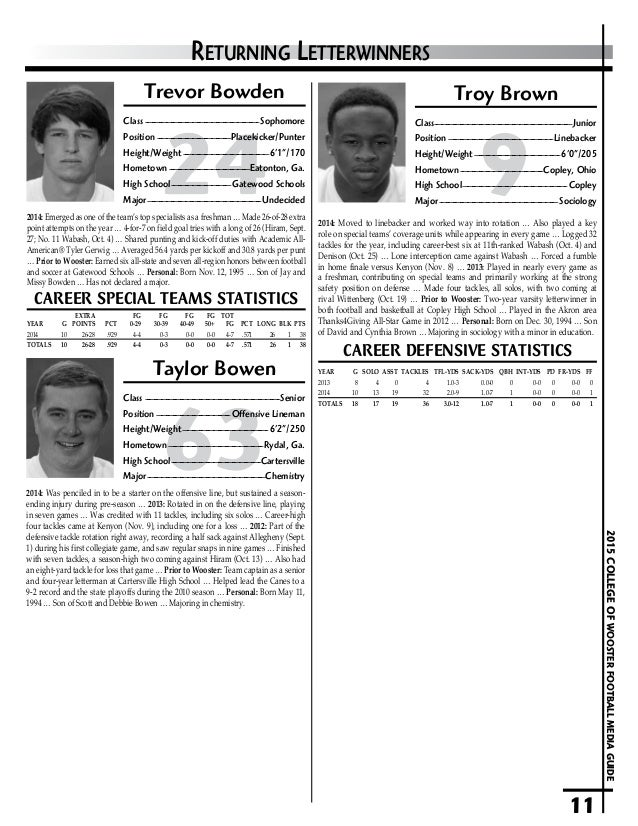 2015 Wooster Football Media Guide