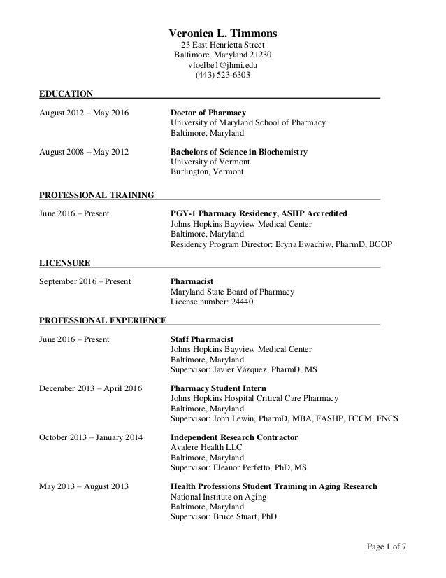 Veronica L. Timmons 23 East Henrietta Street Baltimore, Maryland 21230 vfoelbe1@jhmi.edu (443) 523-6303 Page 1 of 7 EDUCAT...