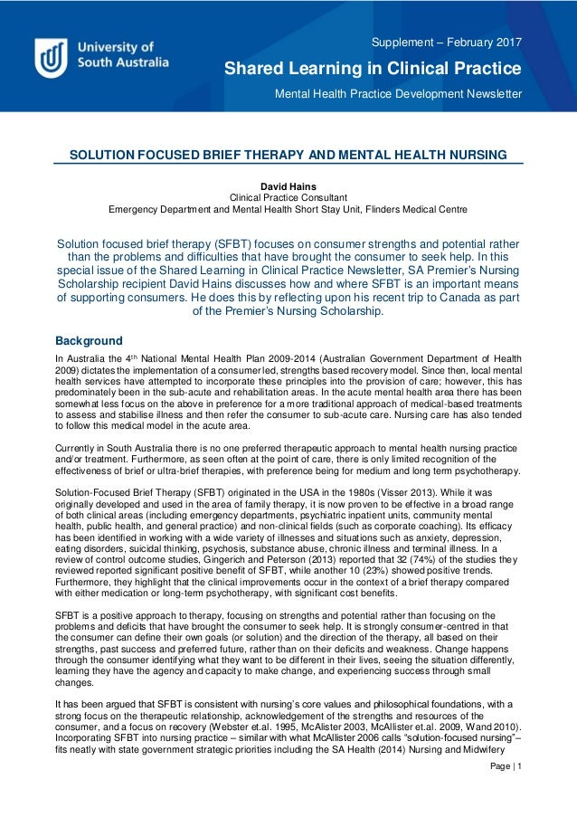 Supplement – February 2017 Shared Learning in Clinical Practice Mental Health Practice Development Newsletter Page   1 SOL...