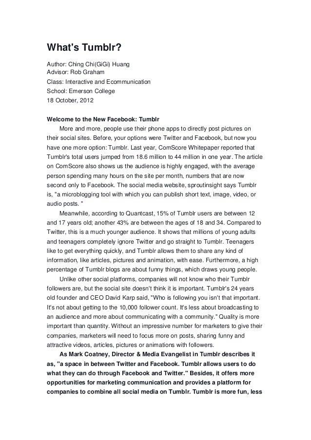 Whats Tumblr Author Ching Chigigi Huang Advisor Rob Graham Class