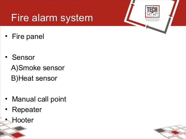 Fire alarm system • Fire panel • Sensor A)Smoke sensor B)Heat sensor • Manual call point • Repeater • Hooter