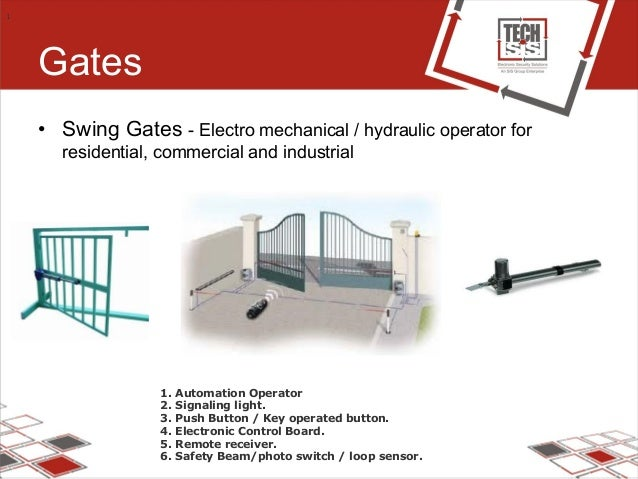 Gates • Swing Gates - Electro mechanical / hydraulic operator for residential, commercial and industrial 1 1. Automation O...