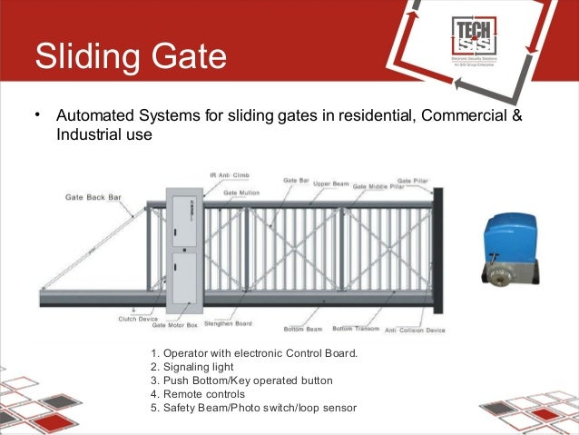 Sliding Gate • Automated Systems for sliding gates in residential, Commercial & Industrial use 1. Operator with electronic...
