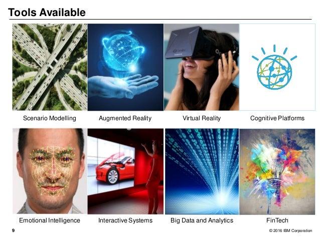99 © 2016 IBM Corporation Tools Available Virtual RealityAugmented RealityScenario Modelling Cognitive Platforms Emotional...