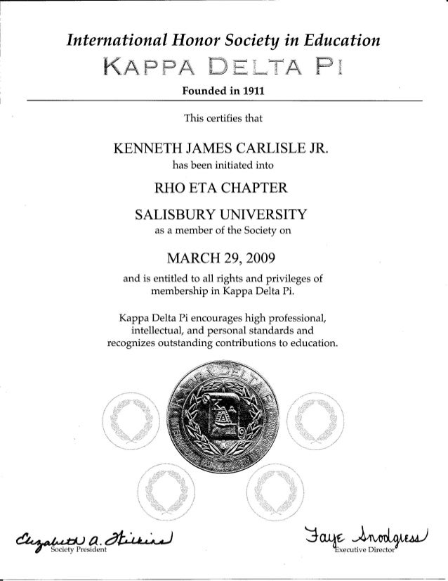 Kappa Delta Pi Certificate