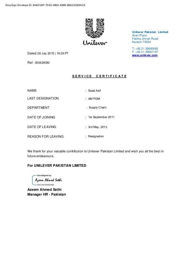 unilever experience certificate