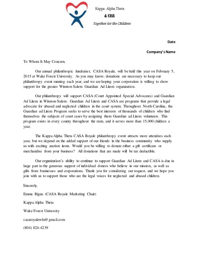 Corporate Sponsorship Request Letter
