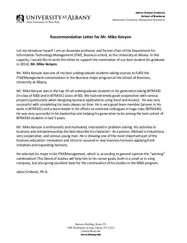 Jakov Yasha Crnkovic PhD Recommendation Letter