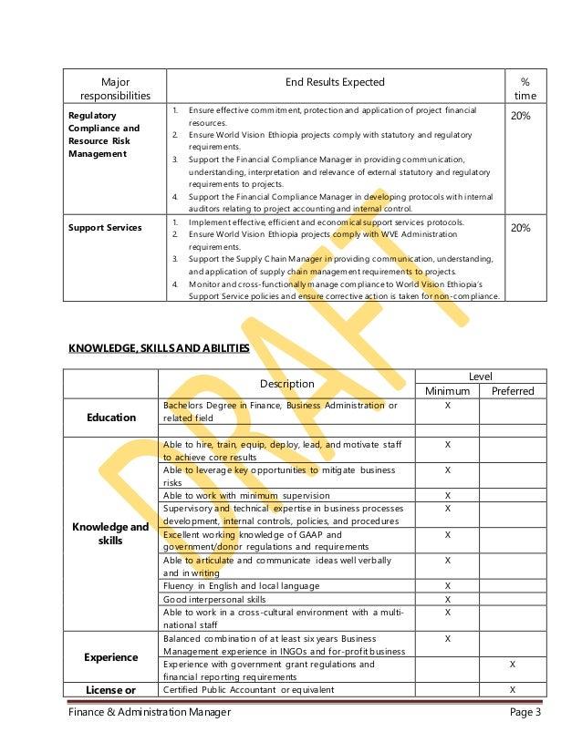 WVE Finance & Administration Manager JD rev 001 Slide 3