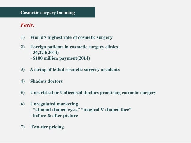 ethical issues with plastic surgery A subset of plastic surgeons call themselves aesthetic surgeons, implying a   the many ethical issues that can be raised as well as legal barriers should not be .