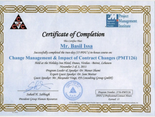 Certificate Of Completion Change Managment Impact Of