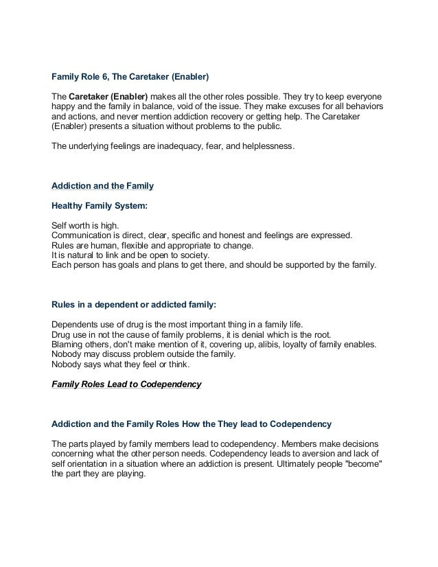 AddictionandCodependency – Family Roles in Addiction Worksheets