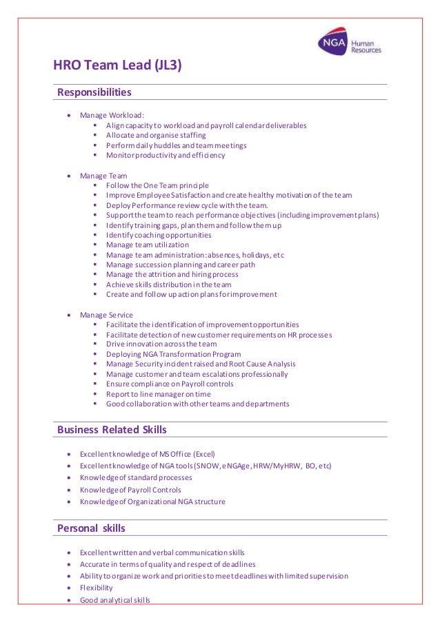 HRO Team Lead (JL3) Responsibilities  Manage Workload:  Aligncapacityto  Workload Andpayroll Calendardeliverables ...