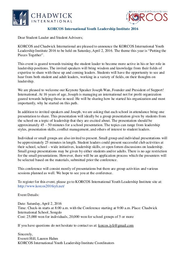 Iyli invitation letter iyli invitation letter korcos international youth leadership institute 2016 dear student leader and student advisors korcos and chadwick stopboris Choice Image