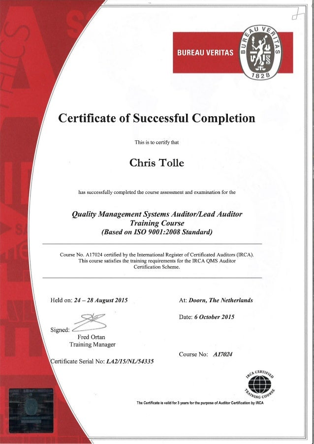Iso 9001 quality management system lead auditor training course irca ….