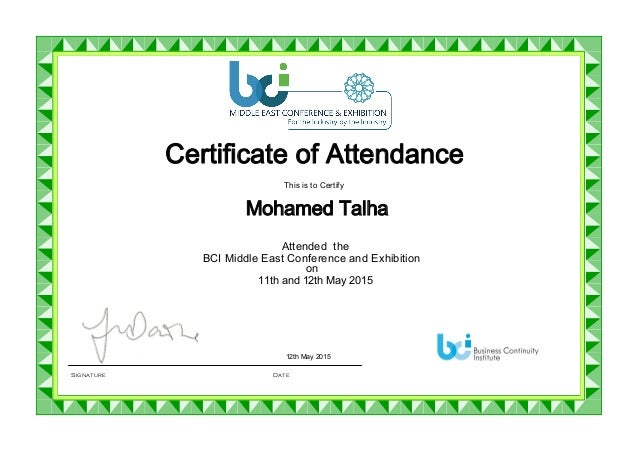 Bci Me Conference Attendance Certificate
