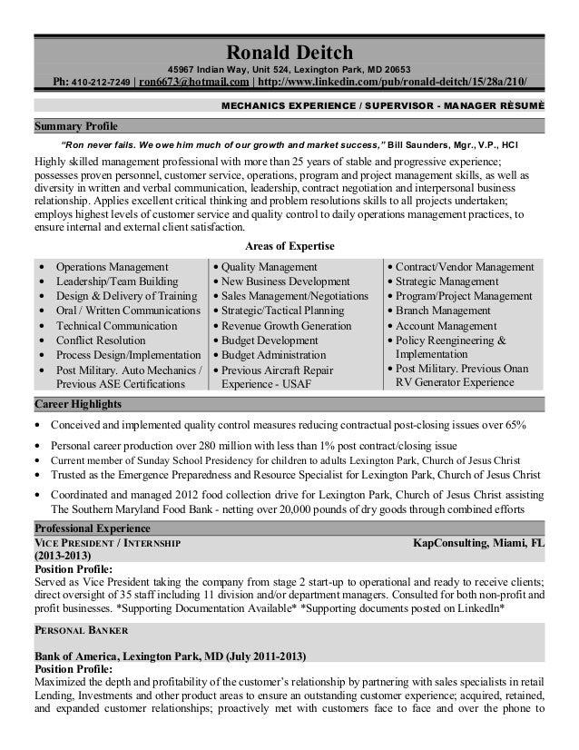 1- Resume, Automotive - Business Management
