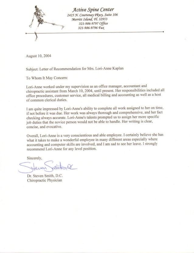 LKaplan - Ref Letter - Active Spine Center