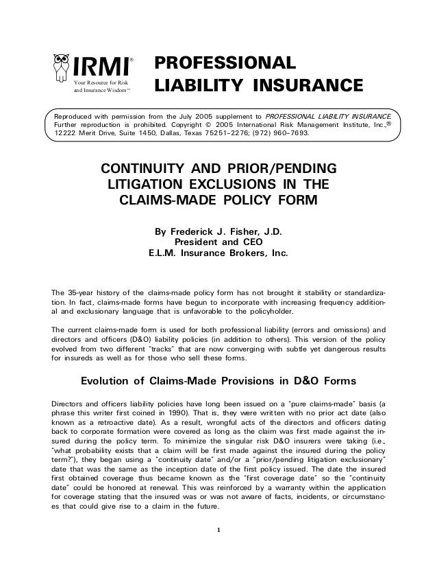 1 Reproduced with permission from the July 2005 supplement to PROFESSIONAL LIABILITY INSURANCE. Further reproduction is pr...