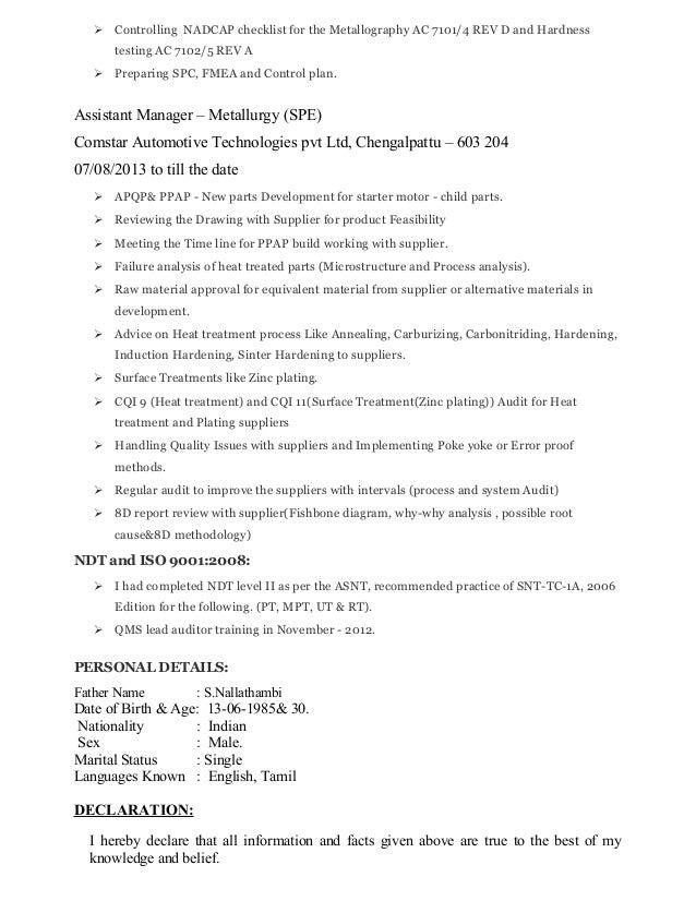 Resume Metallurgy Latest
