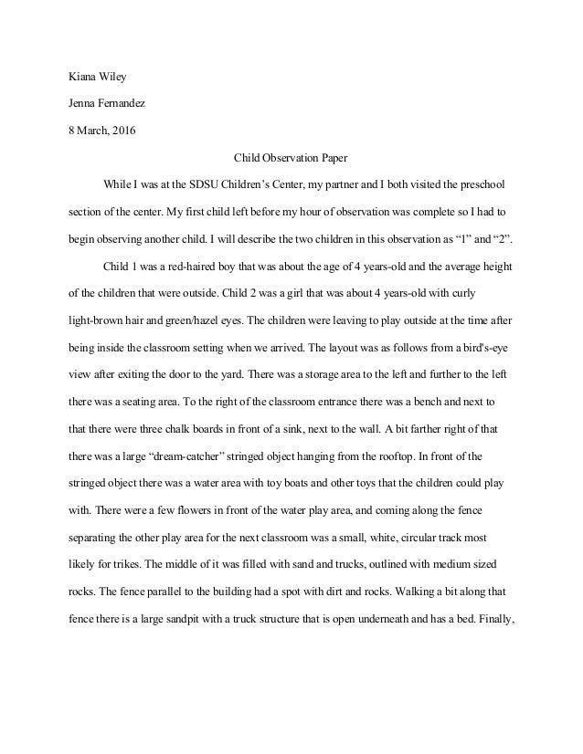 child observation paper