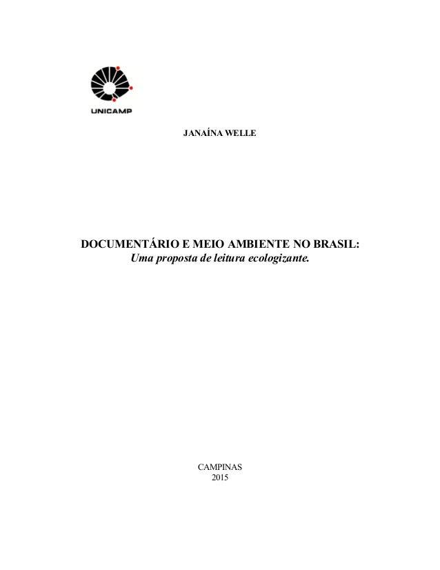 JANAÍNA WELLE DOCUMENTÁRIO E MEIO AMBIENTE NO BRASIL: Uma proposta de leitura ecologizante. CAMPINAS 2015