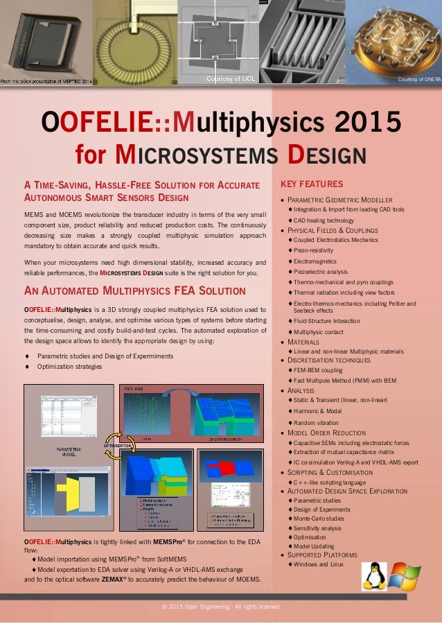 OOFELIE::Multiphysics 2015 for MICROSYSTEMS DESIGN MEMS and MOEMS revolutionize the transducer industry in terms of the ve...
