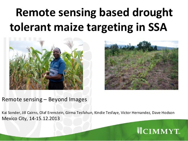Remote sensing based drought tolerant maize targeting in SSA  Remote sensing – Beyond Images Kai Sonder, Jill Cairns, Olaf...