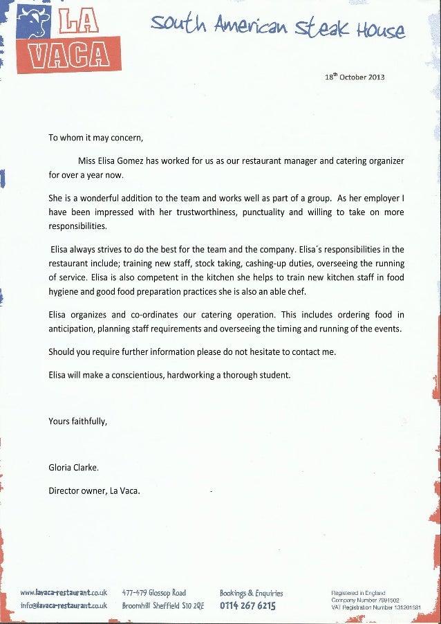 La Vaca Restaurant Elisa Reference Letter Mod