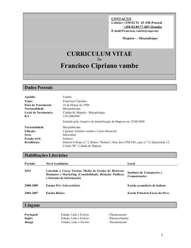 Curriculum Vitae Francisco Vambe22