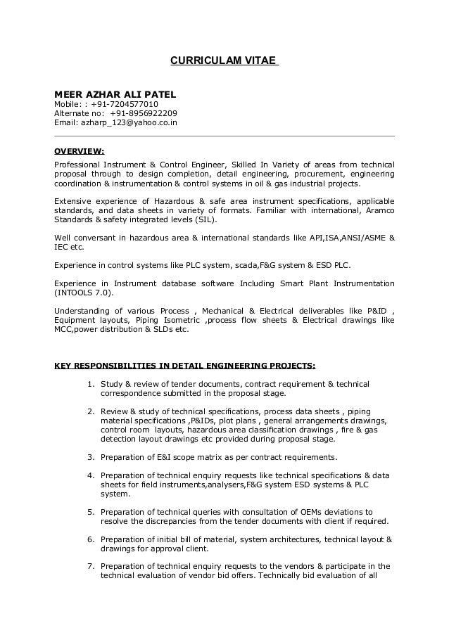 cv instrument ei engineer2 - Instrumentation Engineer Sample Resume