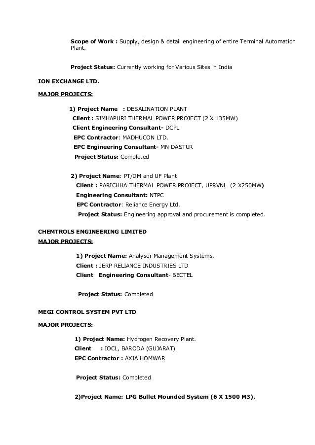 engineering consultant pdil 5 - Instrumentation Design Engineer Sample Resume