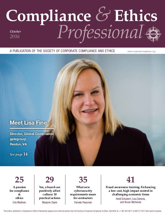 Compliance & Ethics Professional ® a publication of the society of corporate compliance and ethics www.corporatecompliance...