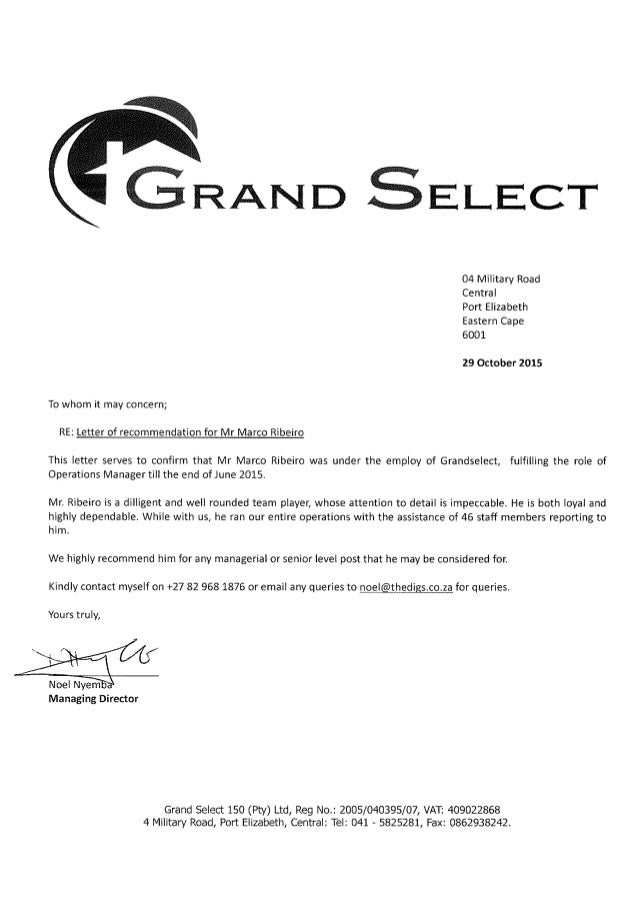 Letter of recommendation - G. Select