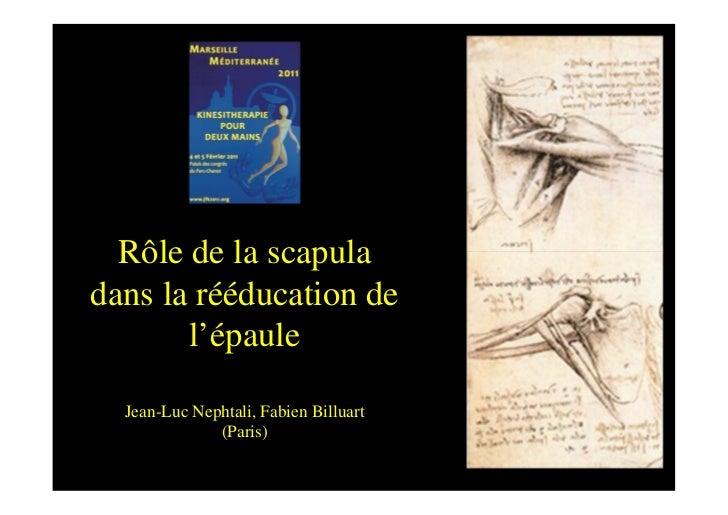 Rôle de la scapuladans la rééducation de       l'épaule  Jean-Luc Nephtali, Fabien Billuart              (Paris)