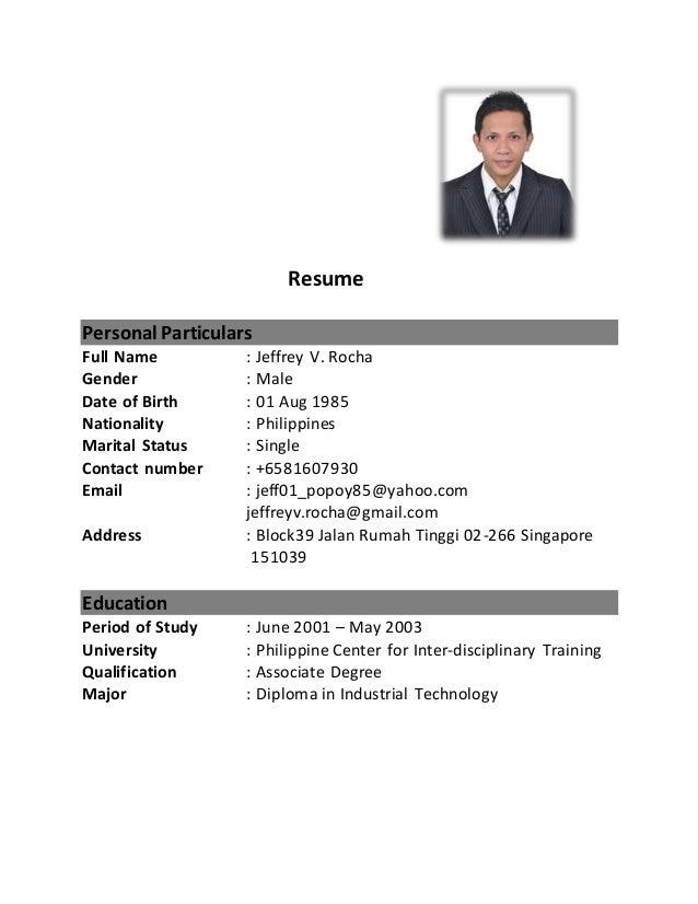 resume singapore