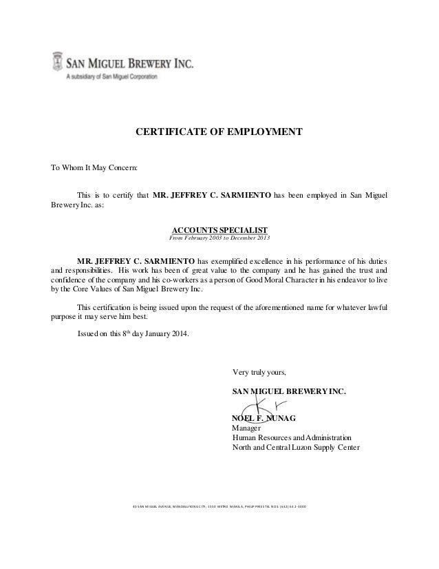 Certificate of employment signed for Certificate of good moral character template