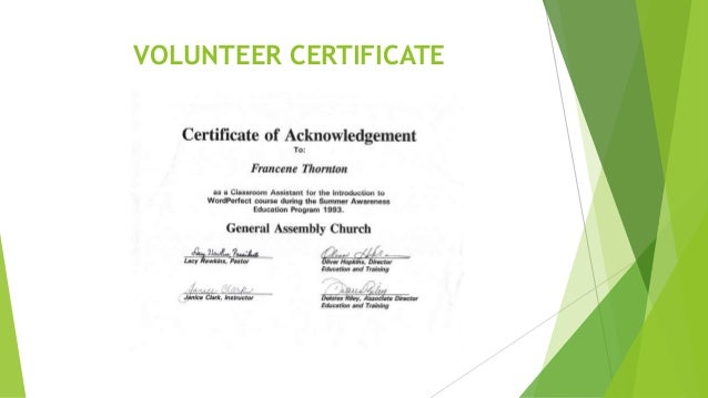 Certificate Slides - Volunteer
