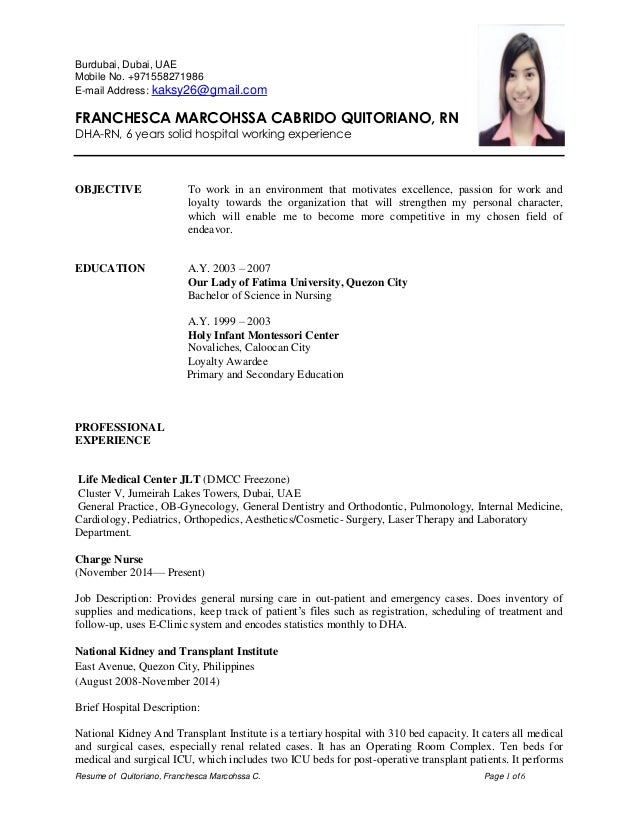 dha rn cv resume of quitoriano franchesca marcohssa c page 1 of 6 burdubai dubai - Nursing Cv Samples