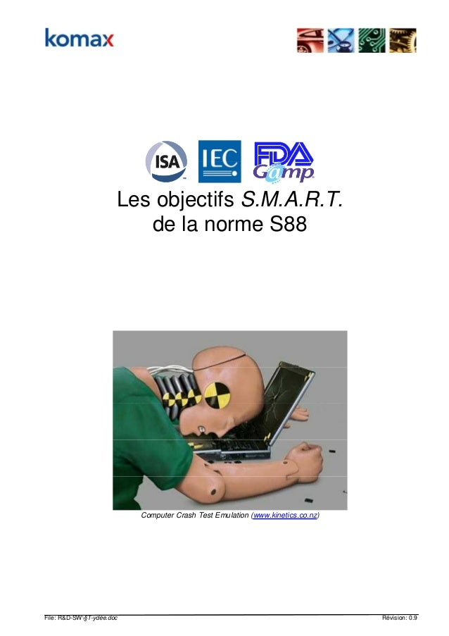 File: R&D-SW§T-ydée.doc Révision: 0.9 Les objectifs S.M.A.R.T. de la norme S88 Computer Crash Test Emulation (www.kinetics...