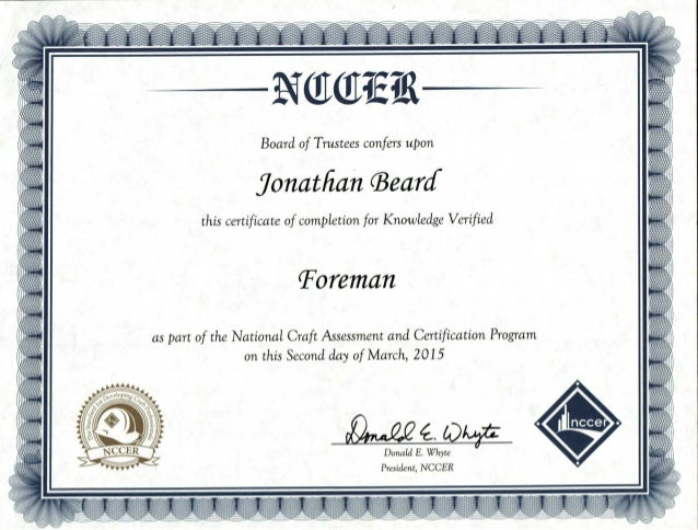 NCCER Foreman KV Certification