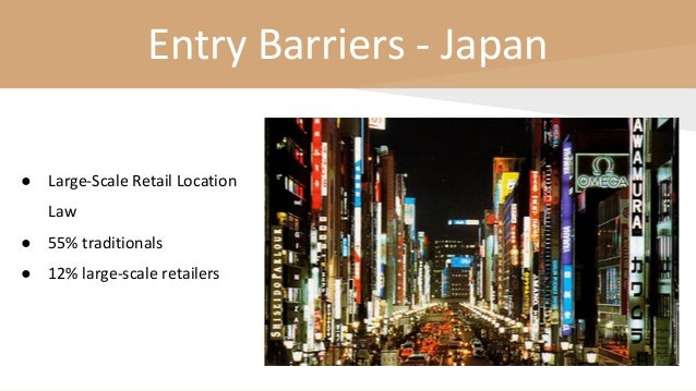 Entry Barriers - Japan ● Large-Scale Retail Location Law ● 55% traditionals ● 12% large-scale retailers