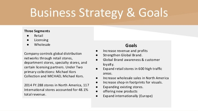 Business Strategy & Goals Three Segments ● Retail ● Licensing ● Wholesale Company controls global distribution networks th...