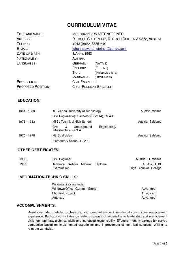page 1 of 7 curriculum vitae title and name mr johannes wartensteiner address deutsch