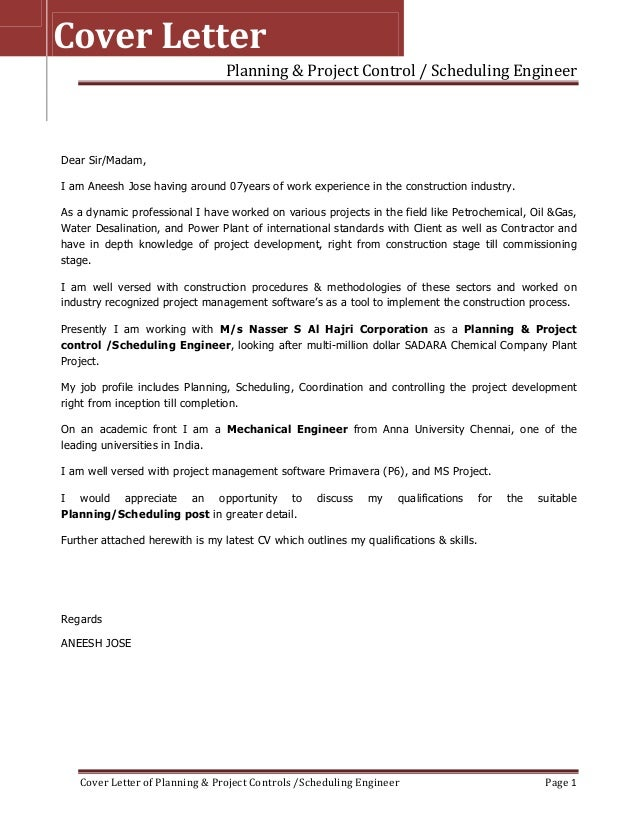 Good Planning U0026 Project Control / Scheduling Engineer Cover Letter Of Planning U0026  Project Controls /Scheduling ...