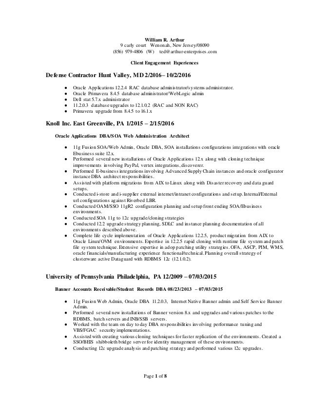 resume and oracle database and server and califoirnia